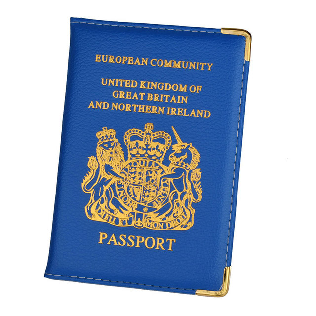Uk /& European Passport Protector Holder Cover Pu Leather