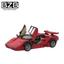Супер гоночный автомобиль BZB MOC Countach LP5000 QV-Red Hypercar Versionby из блоков, классические высокотехнологичные модели блоков, игрушки, подарки на день р...