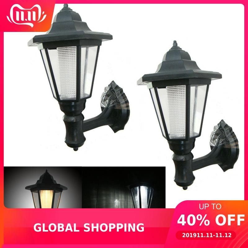 2pcs/lot Outdoor LED Solar Power Light Energy Saving Super Bright Yard Garden Decoration Path Street Security Wall Hanging Lamp