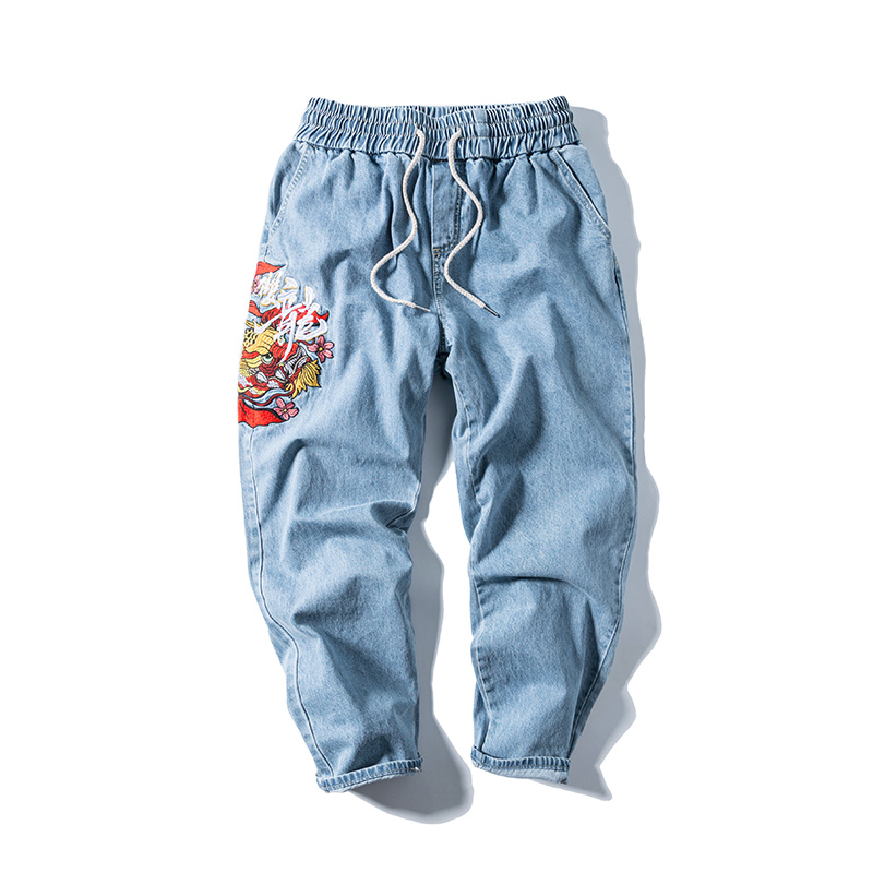 2020 Chinese Style Embroidered Jeans Men's Fashion Japanese Retro National Fashion Pants Loose Casual Harlem Pants Autumn