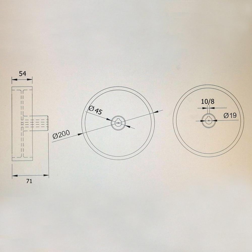 200*54*24/19mm Volledig Aluminium Riem Grinder Loopwiel Roller Rijden Wiel met 10 * 6mm Sleutel Slot - 4