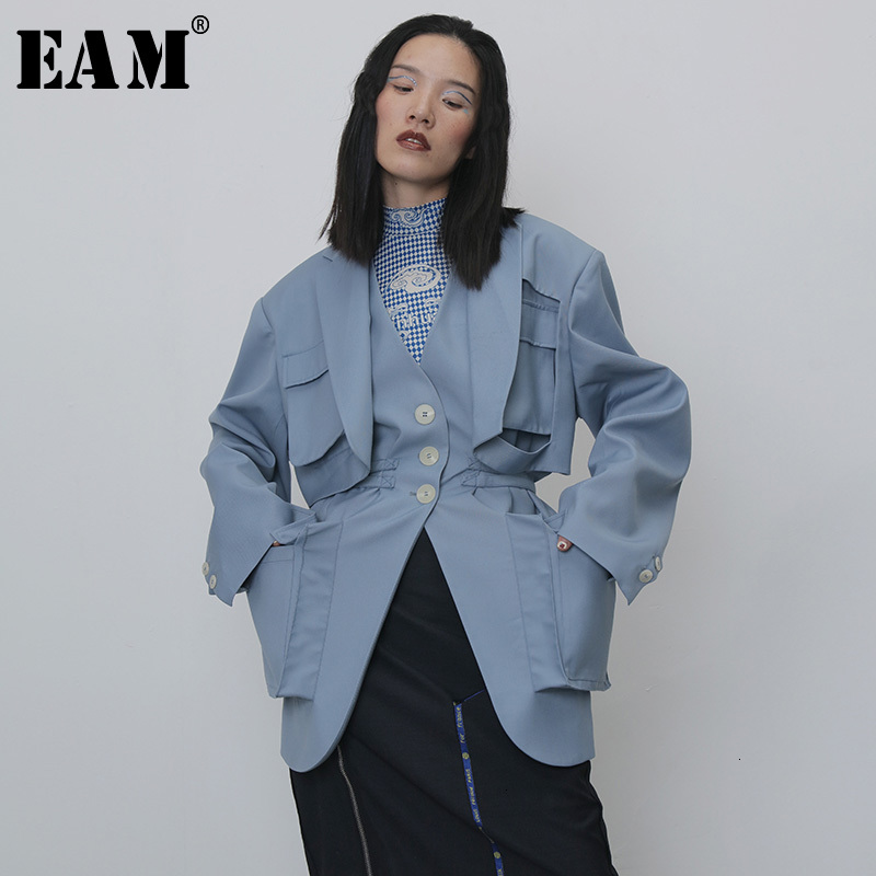 [EAM] Women Blue Spllit Pocket Big Size Trench New V-collar Long Sleeve Loose Fit Windbreaker Fashion Spring Autumn 2020 1H264
