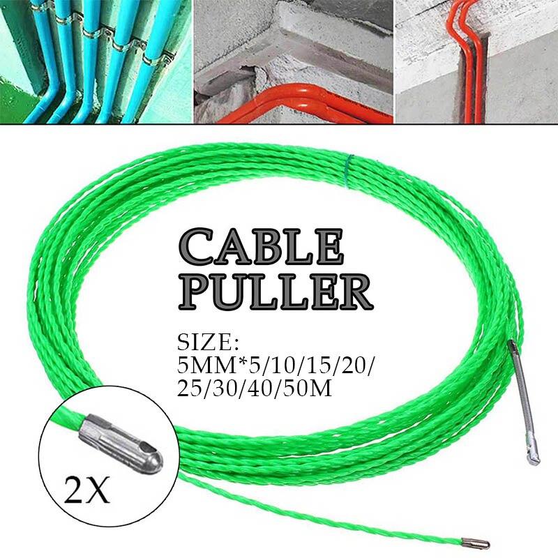 От 5 до 50 метров 5 мм зеленый стекловолокна кабель пуш-ап съемники Протока Rodder для протяжки проводов провода Pom рыбы рисовать лента Электриче...
