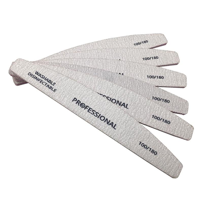 5 Pcs/lot limes à ongles professionnelles limes de ponçage dart des ongles polissage courbe outils de manucure ensemble 100/180 tampon à ongles outil de Diagnostic