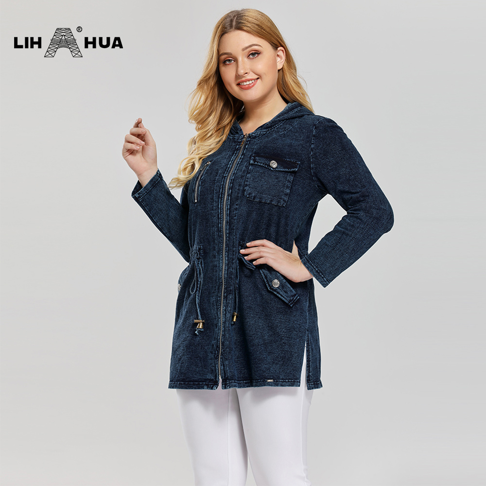 lih-hua-women's-plus-size-casual-long-style-denim-jacket-woman-premium-stretch-knitted-denim-with-shoulder-pads-and-hat