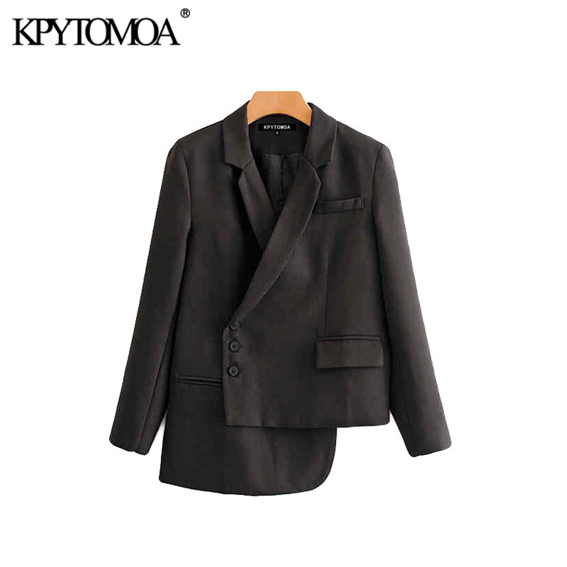 Vintage Stylish Pockets Irregular Blazer Coat Women 2020 Fashion Notched Collar Long Sleeve Female Outerwear Chic Tops