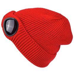 Dwufunkcyjny zagęszczony zimowy czapka z dzianiny ciepłe czapki Skullies czapka narciarska z odpinanymi okularami dla kobiet