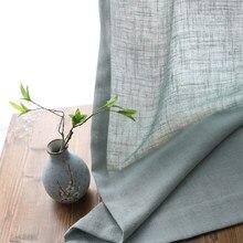 Linho moderno semi-sombreamento ramie cortina estilo chinês norse fio de cânhamo cor pura algodão linho cortina personalizado gaze cortina fio