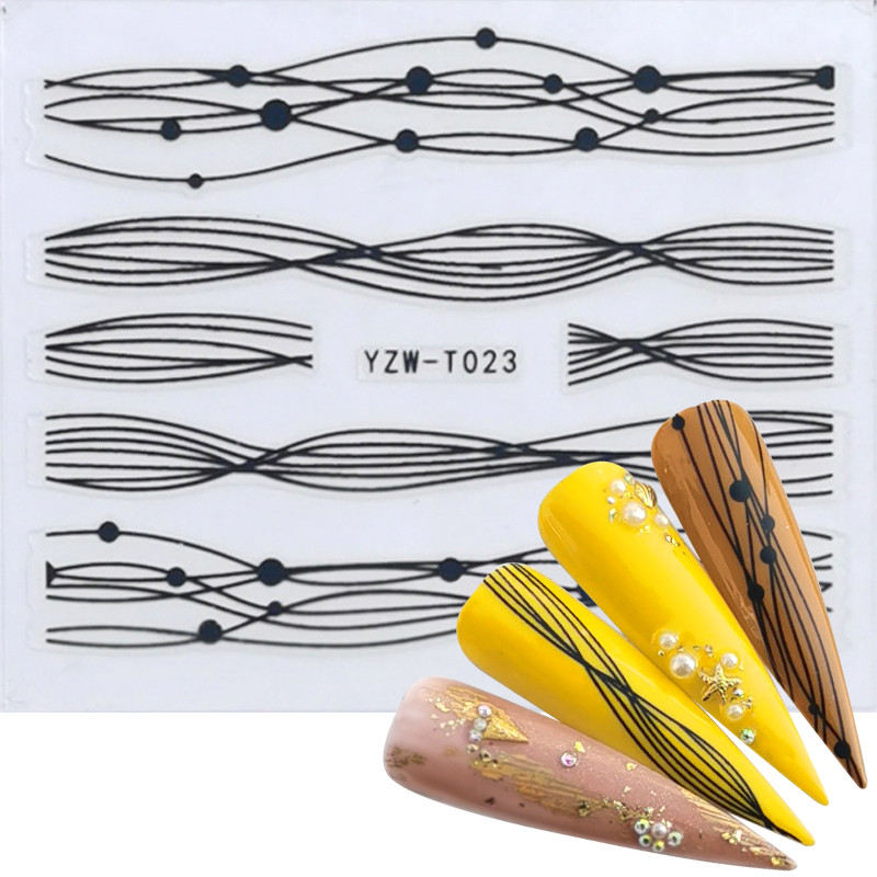 WUF 2020 Gold/Black Sliders 3D Nail Stickers Straight Curved Liners Stripe Tape Wraps Geometric Nail Art Decorations