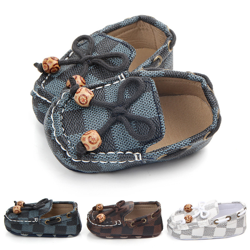 Baby Shoes Canvas Boy Classical Toddler First Walker Soft Sole Crib Shoes Newborn Sapatos Lace-up Checkered Shoes Moccansins