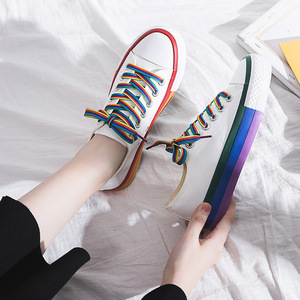 Image 3 - SWYIVY Rainbow White Shoes Woman Canvas Sneakers With Color Lace 2020 Spring New Female Casual Sneakers Platform Shoes White
