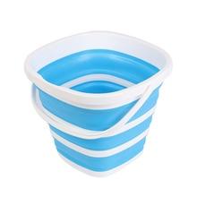 Balde de silicone dobrável, 10l, balde de silicone para acampamento, carro, lavagem, ferramenta de limpeza doméstica, cozinha quadrada, grande capacidade, balde