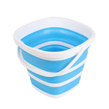 Cubo de silicona plegable de 10L para Camping, cubos de lavado de coche, herramienta de limpieza para el hogar, Cubo de cocina cuadrado de gran capacidad