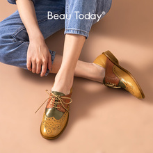 Derby Shoes Flats Beautoday Round-Toe Genuine-Leather Women Calfskin Wingtip 21468 Handmade
