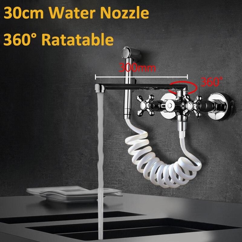 300mm tuyau de sortie nez Chrome double bec retirer cuisine robinet mural pulvérisation cuisine robinets avec conduites d'eau