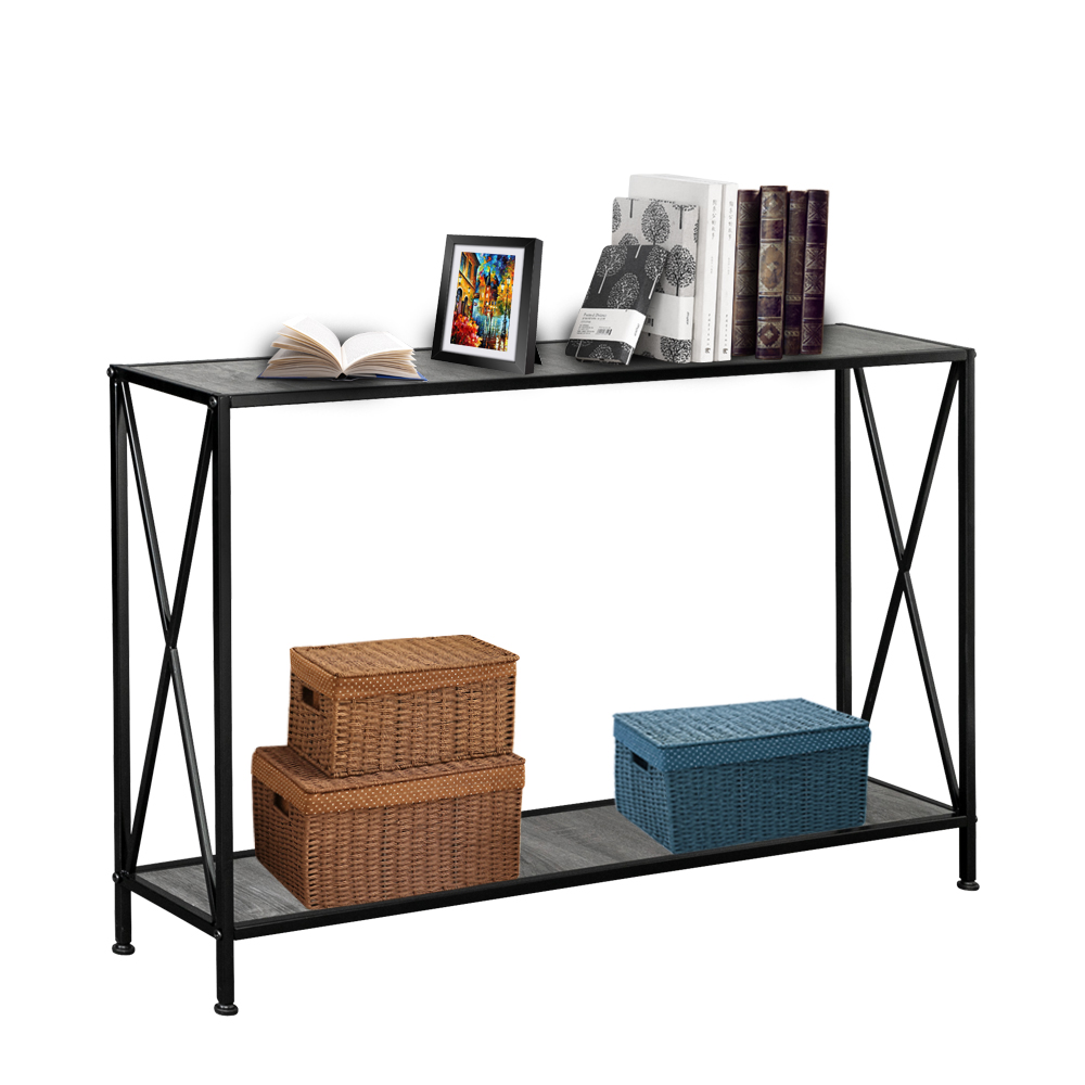 2 Layers Desk Black Wrought Iron Base 2 Layers Forked Console Table Side Table Night Table Grey MDF Countertop
