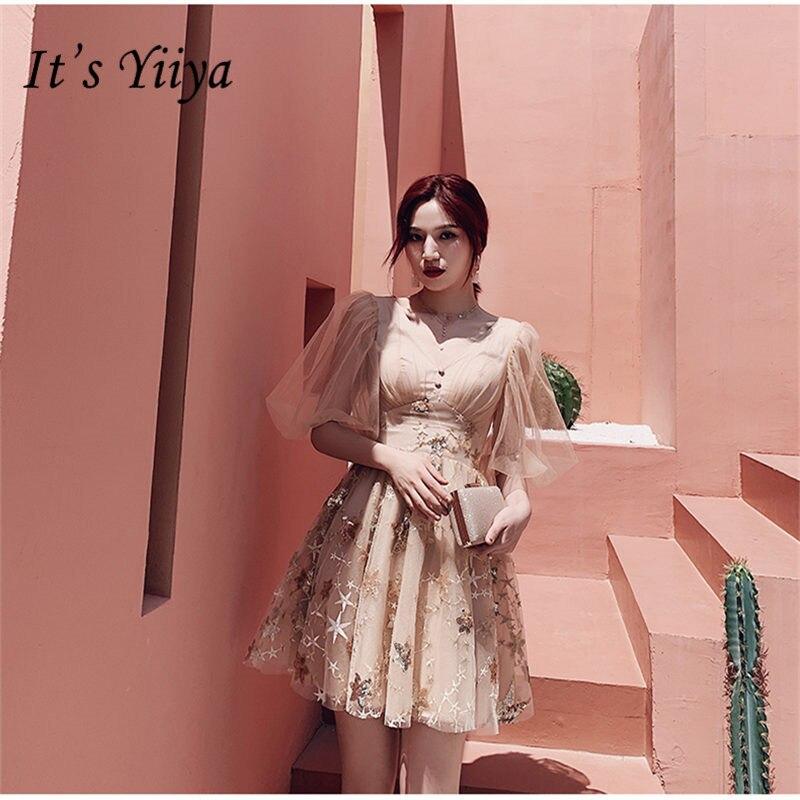 It's Yiiya Prom Dress 2019 V-neck Half Sleeve Women Party Night Short Dresses Elegant Sequins Lace Vestidos De Gala  E798