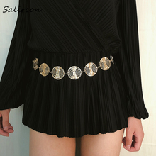 Salircon Fashion Exaggeration Vintage Metal Belt unique Style Geometric Hot Chains Waist Wide Gold Tassel Band Ladies Jewelry