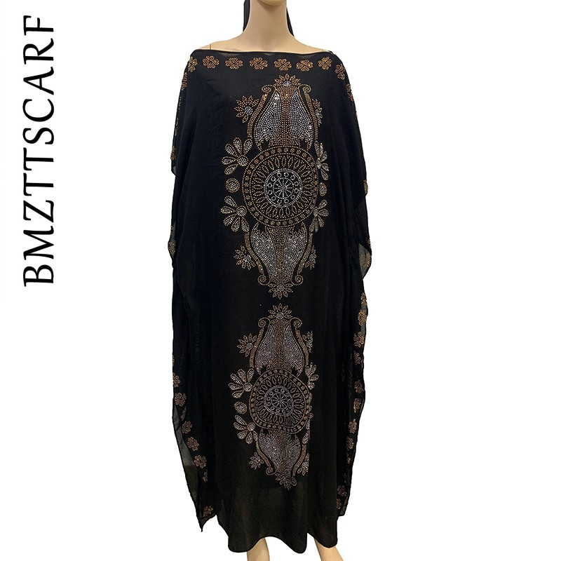 2019 New African Diamond 100% Cotton Chiffon Long Dashiki Dress With Scarf For Lady African Clothes 060#