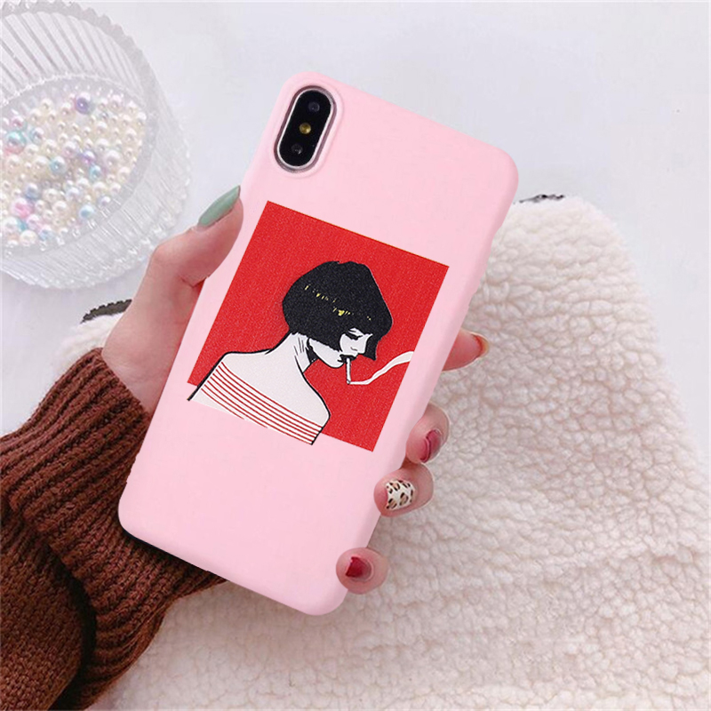 GYKZ Cartoon Anime Girl Fitted Case For iPhone X XS MAX XR 7 8 6 6s Plus Candy Color Soft Silicone Phone Cover Fashion Shell Bag in Fitted Cases from Cellphones Telecommunications
