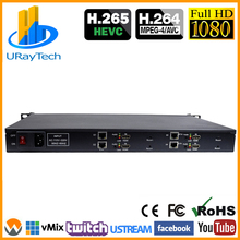 1U Rack HEVC H.265 H.264 HDMI+ CVBS RCA AV к IP кодер HD SD живое видео потоковое кодирование с RTSP RTMP UDP HTTP HLS RTMPS