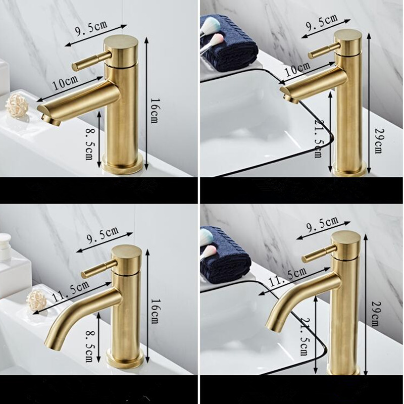 H4a654dc0bc2c42c1a2dd29391e5ea5a8w Bathroom Faucet Solid Brass Bathroom Basin Faucet Cold And Hot Water Mixer Sink Tap Single Handle Deck Mounted Brushed Gold Tap