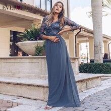 Seksowne suknie wieczorowe z długim rękawem 2020 Ever Pretty EZ07633 damskie tanie koronkowe aplikacje dekolt formalne eleganckie sukienki imprezowe