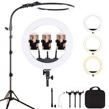 18 بوصة 65 واط LED مصباح مصمم على شكل حلقة عكس الضوء استوديو التصوير الإضاءة للماكياج ، الوشم ، يوتيوب فيديو مع 2 متر ضوء حامل للهاتف حامل