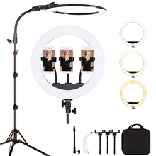 18 Inch 65W Led Ring Licht Dimbare Studio Fotografie Verlichting Voor Make Up, Tattoo, youtube Video Met 2M Light Stand Telefoon Houder