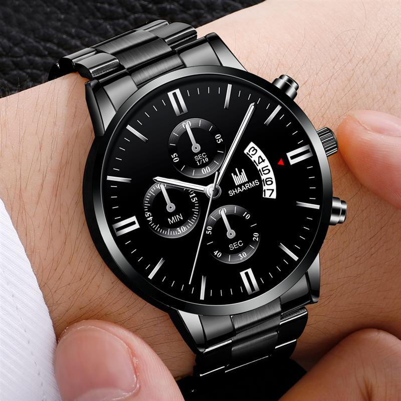 Men Luxury Black Sport Watches Stainless Steel Band Quartz Watch Luxury Military Business Man Wristwatch Fashion Date Clock