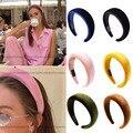 Neue Feste Farben Verdicken Padded Haarbänder Lünette Turban Frauen Stirnband Mädchen Headwear Ins Beliebte Haar Hoop Mode Zubehör