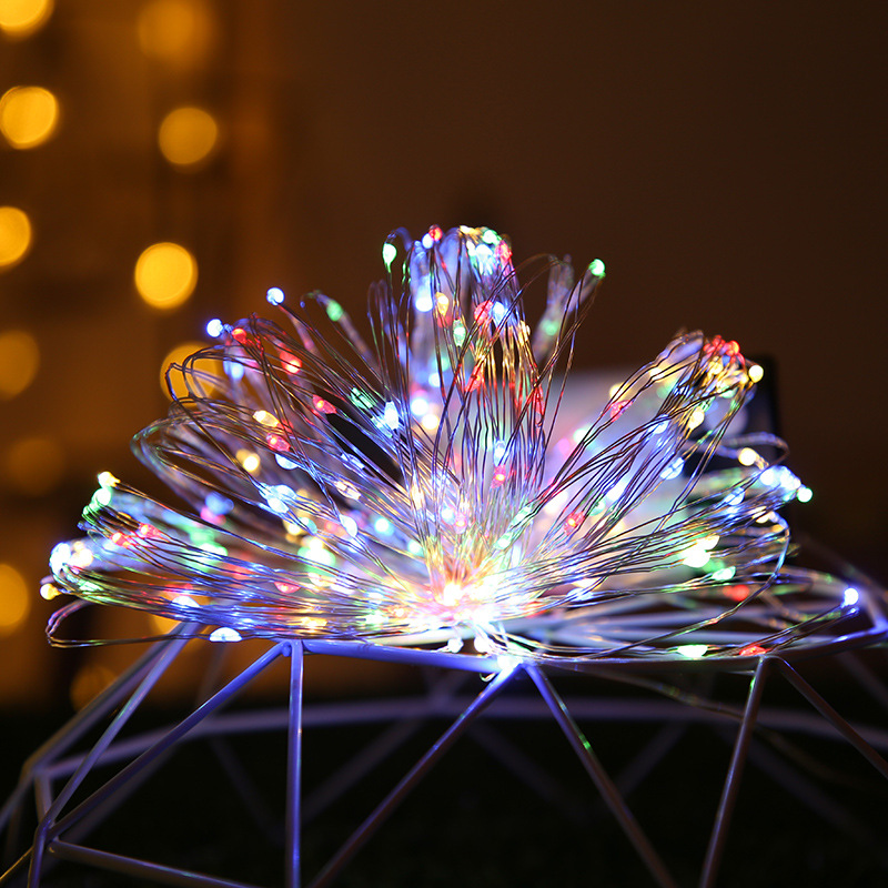 Feimefeiyou 50 100 LED Outdoor Light String Fairy Garland Battery Power Copper Wire Lights For Party Christmas Wedding 5 Colors 2