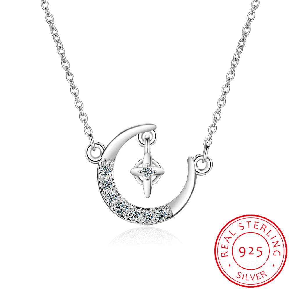 925 Sterling Silver Moon Stars Charm Pendant Necklace for Women Fashion Silver Necklace Choker collier for Lady