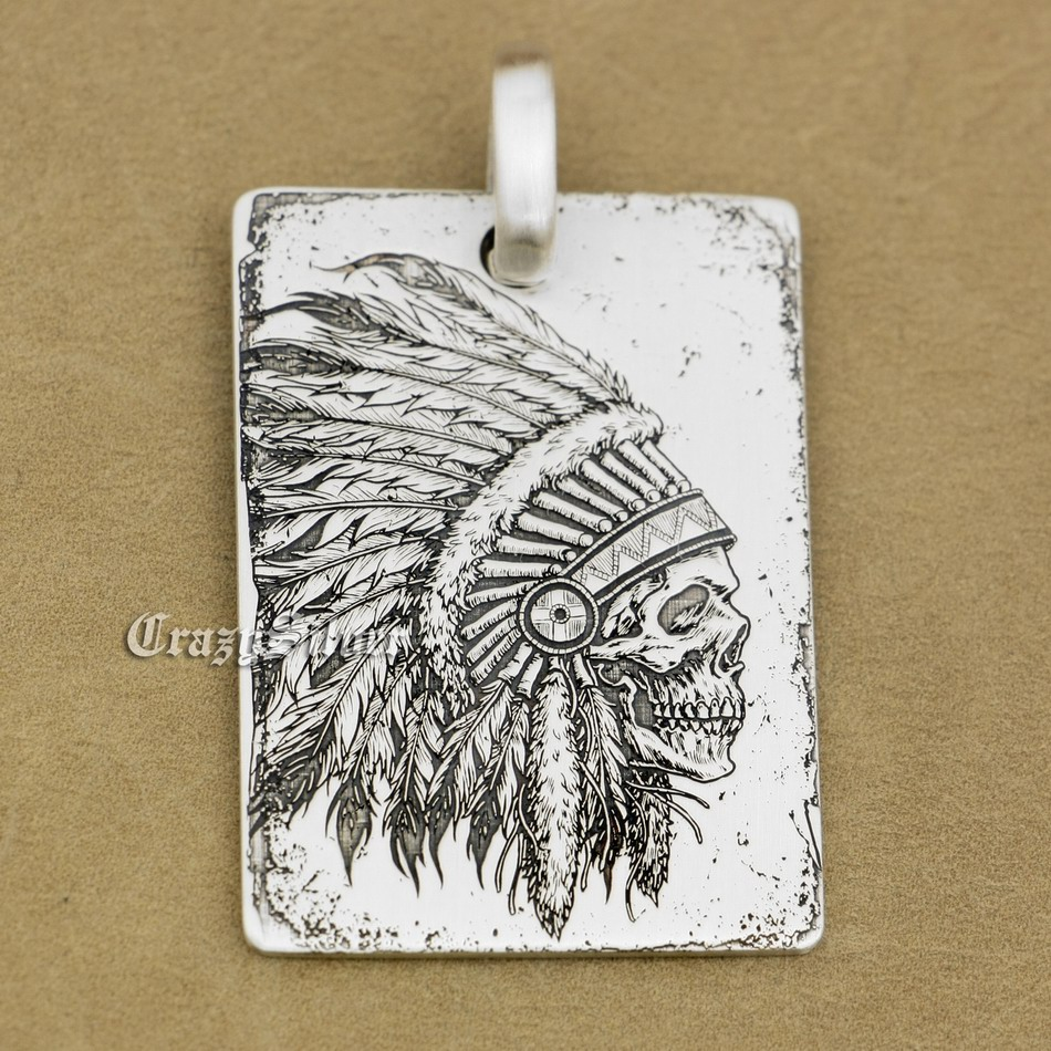 Perincian Tinggi terukir 925 Sterling Silver Indian Chief Skull Dog Tag Mens Biker Rocker Punk Pendant 9X002