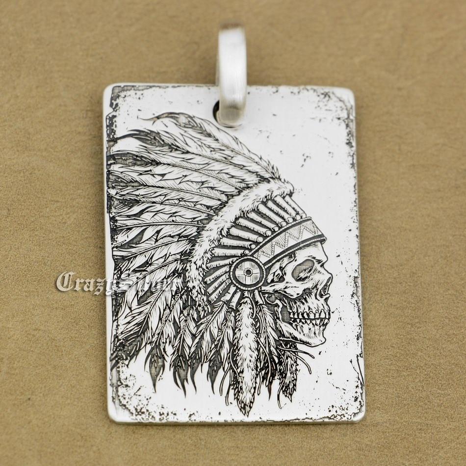 High Detail tief gravierte 925 Sterling Silber Indian Chief Schädel Erkennungsmarke Herren Biker Rocker Punk Anhänger 9X002