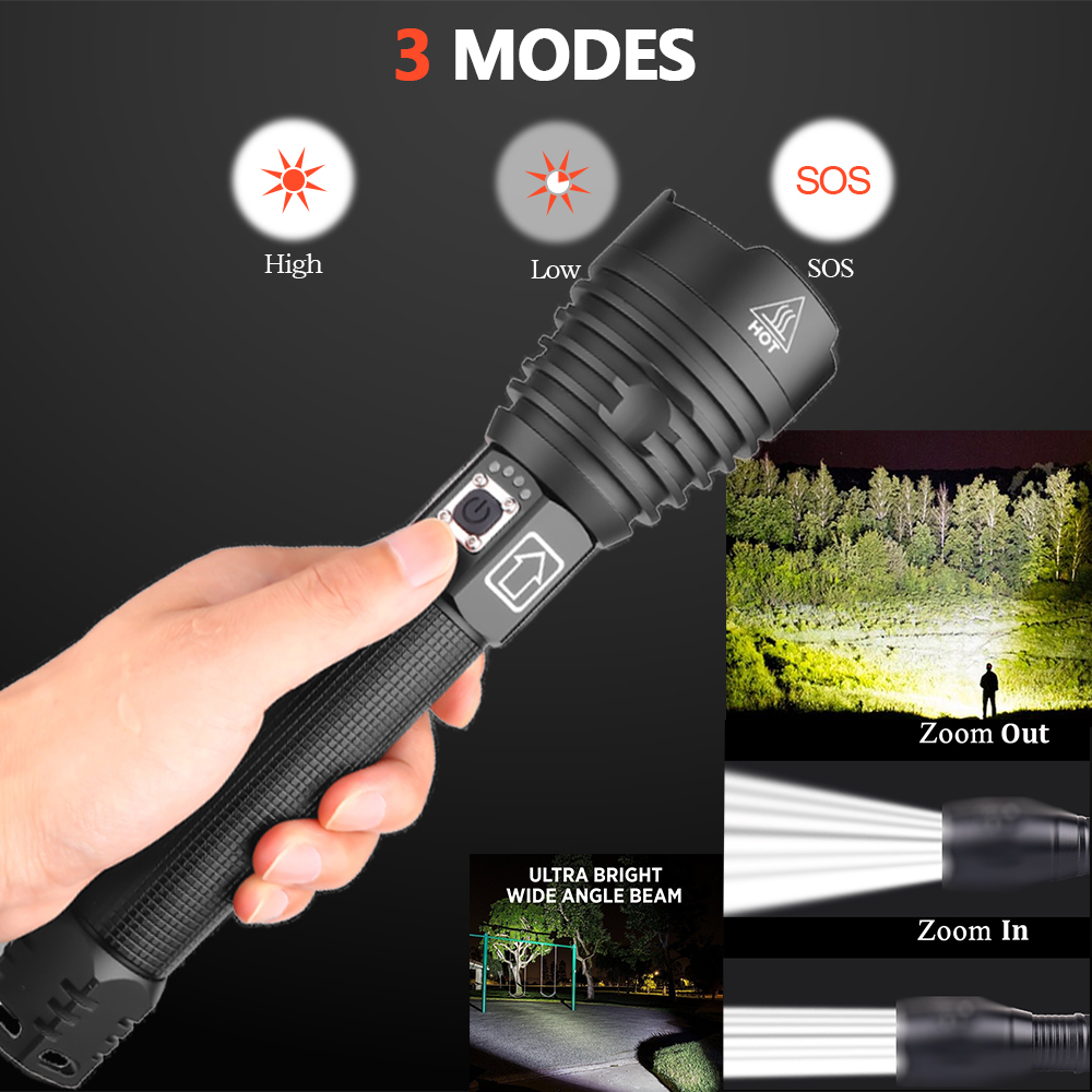 XHP90 XLamp XHP70 2 Most Powerful LED Flashlight USB Rechargeable Tactical Light 18650 26650 Zoom Torch Camping Hunting Lamp s52 in LED Flashlights from Lights Lighting