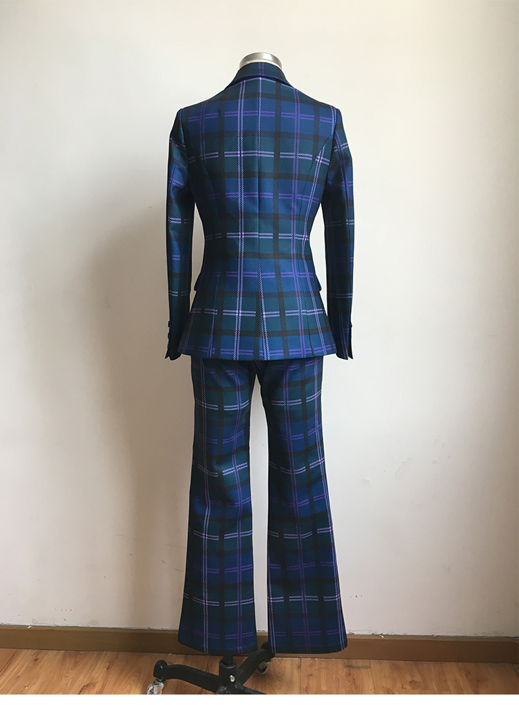 S-3XL high quality new fashion plaid print Slim thick fabric suit double-breasted shirt flared trousers women's suit 62