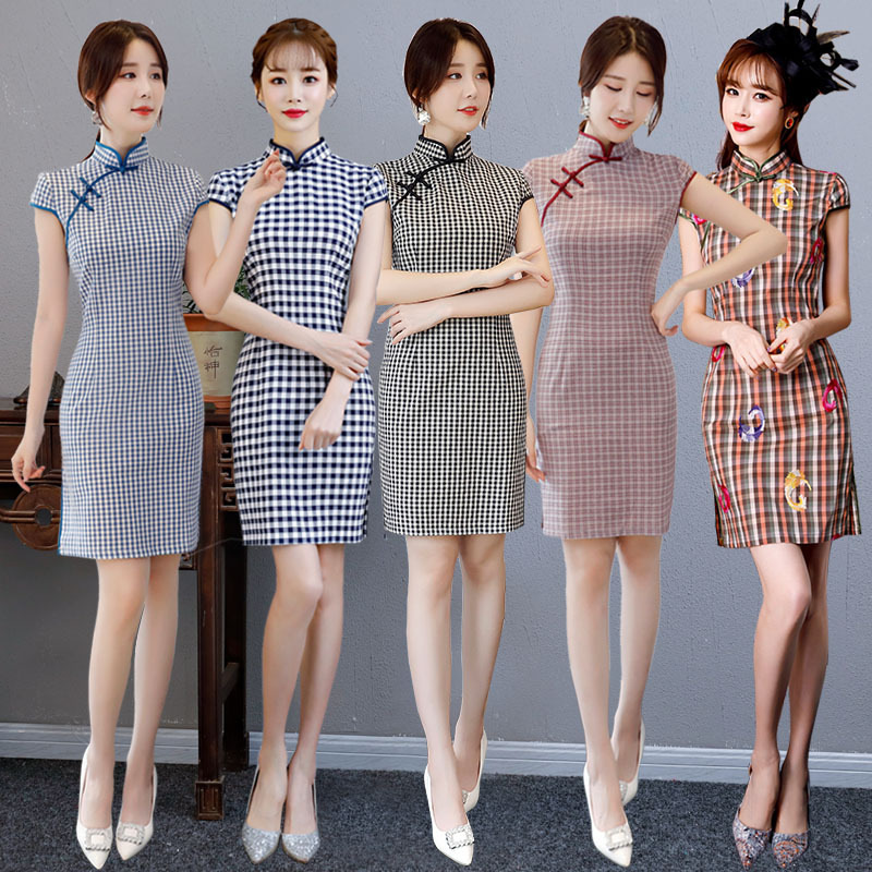 Cross Border Cotton Linen Plaid Cheongsam 2019 New Style Fashion Literature And Art Hipster Short Sleeve Slim Fit Improved GIRL'