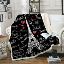 Eiffel TowerTower Throw Blanket On The Bed Romantic Letters Sherpa Fleece Blanket Heart Plush Sofa Plaid 1pc(China)