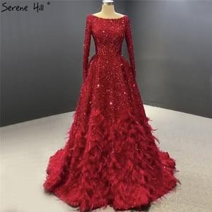 Image 3 - فساتين سهرة فاخرة على شكل حرف a مثيرة باللون الأحمر من دبي لعام 2020 فستان رسمي بأكمام طويلة مزين بالترتر الريش طراز Serene Hill HM67124