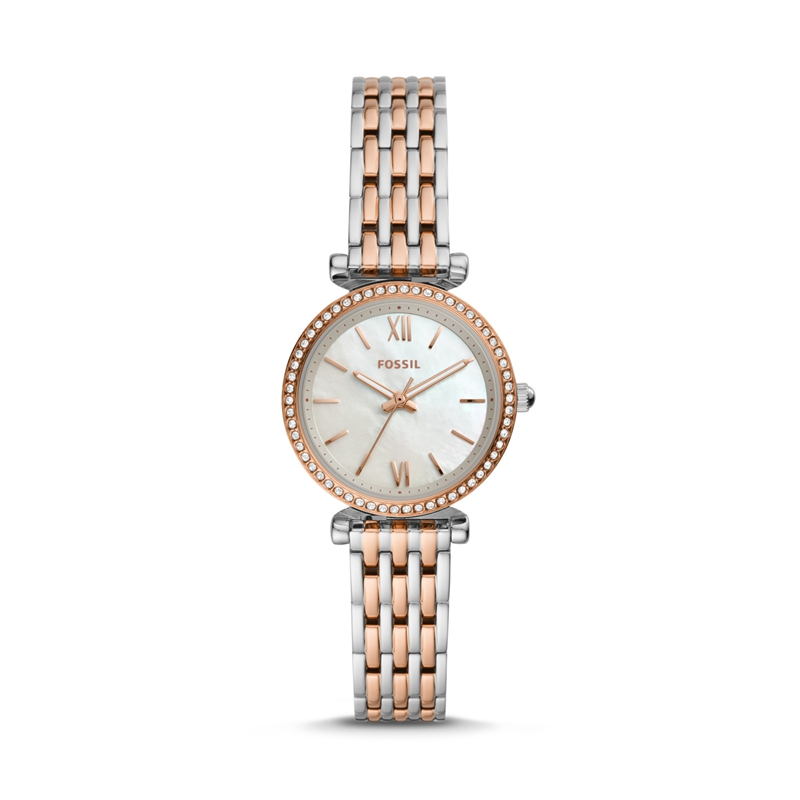 Fossil Ladies Watches Carlie Mini Three-Hand Two-Tone Stainless Steel Watch For Women ES4649