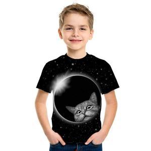 Image 5 - 3D impression mignon mode haut pour enfants à manches courtes T Shirt mignon dessin animé Panda homme/fille porter rue marée Style Top T Shirt dessin animé chat