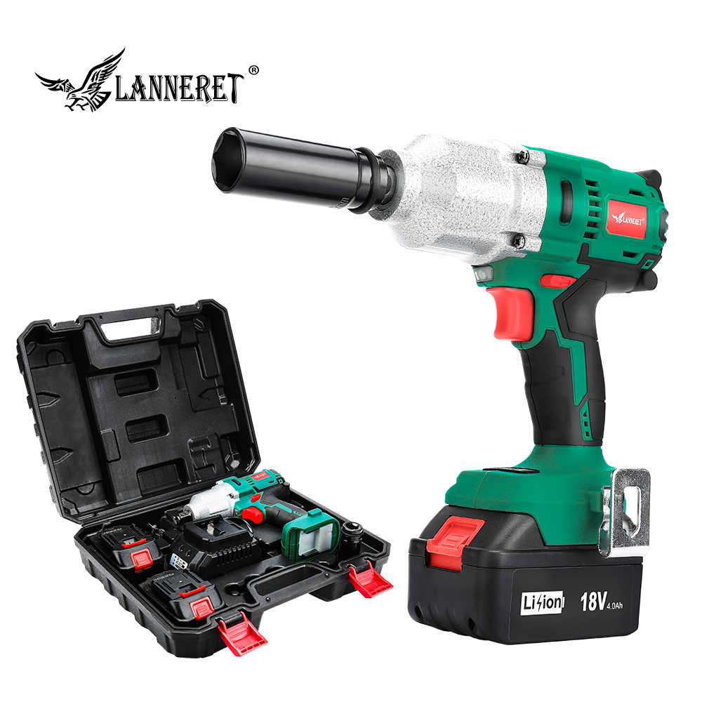 "LANNERET 18V Brushless Cordless Impact Electric Wrench  300-600N.m Torque Household Car/SUV Wheel 1/2"" Socket Wrench Power Tool"