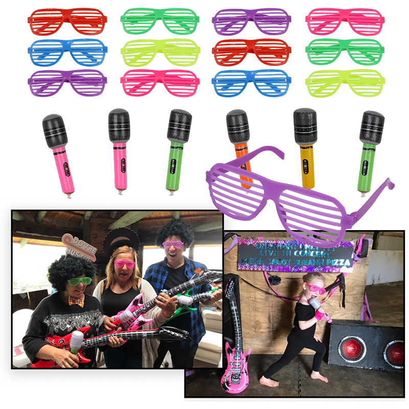 Image 4 - 25pcs 50s Rock Party Supplies Rock and Roll Star Party Backdrop Rock Toy Set Music Party Props for Birthday Party decorationsParty DIY Decorations   -