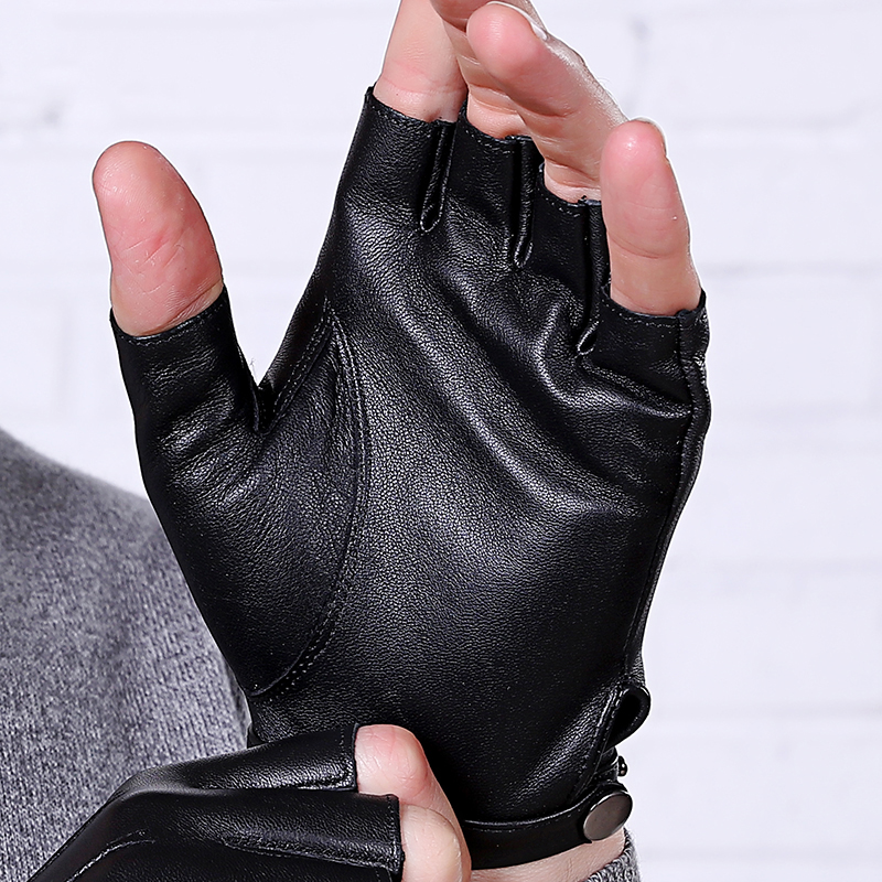 Men Women Genuine Leather Gloves Lovers Fingerless Mittens Black Half Finger Outdoor Tactical Mens Leather Driving Gloves AGC003