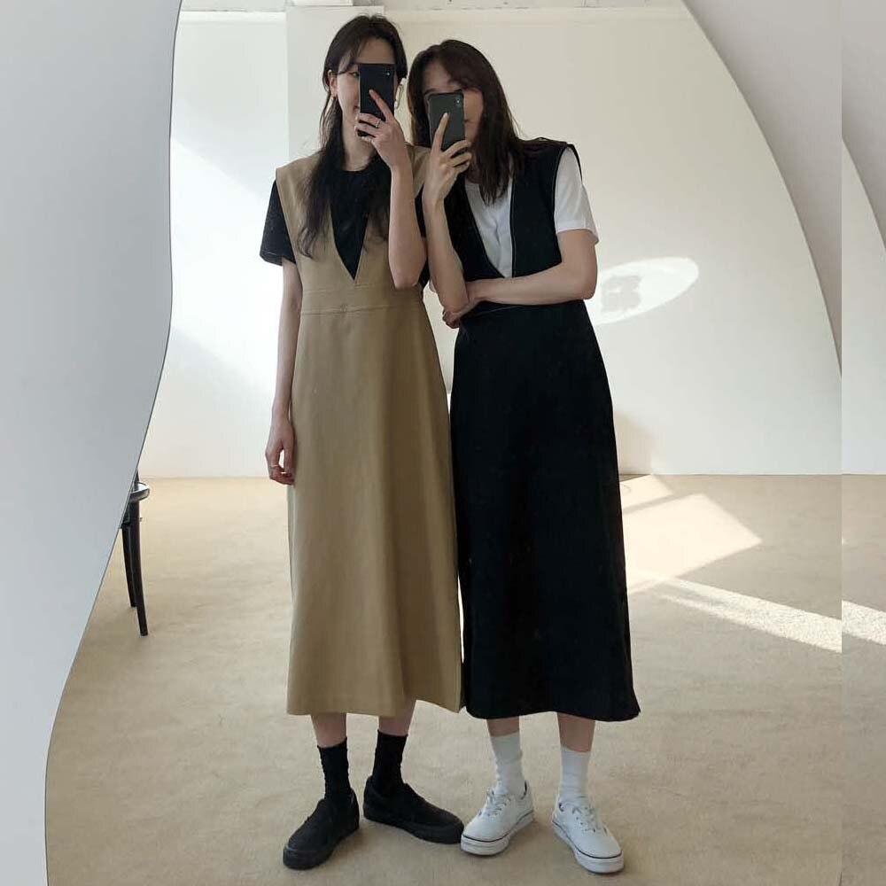 Women Spring V Neck Sleeveless Long Tank Dress Vintage High Waist Solid Color Out Wear Vest Dresses