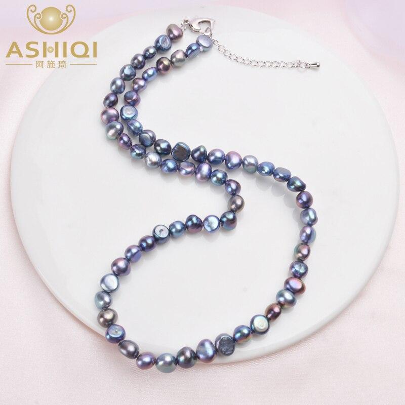 ASHIQI Настоящее 7-8 мм Ожерелье из пресноводного жемчуга для женщин классические натуральные жемчужные ювелирные изделия в стиле барокко