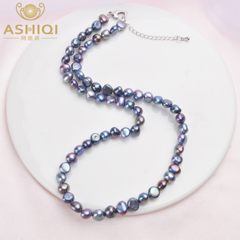 ASHIQI Real 7-8mm Freshwater Pearl Necklace for Women Classic Natural Baroque Pearl Jewelry
