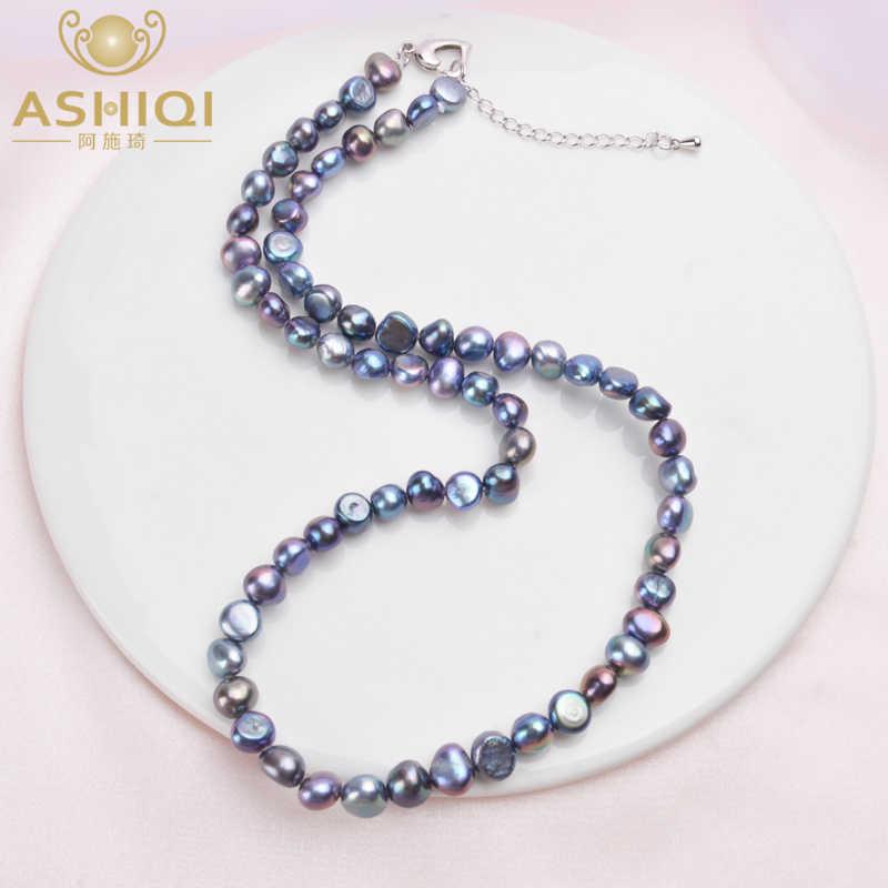 Ashiqiリアル7-8ミリメートル淡水真珠のネックレスクラシックナチュラルバロックパールジュエリー
