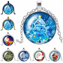 2019 Hot Sale The Latest Christmas Cartoon Santa Claus Ice Snow Tree Glass Convex Round Pendant Necklace Fashion Jewelry Gift